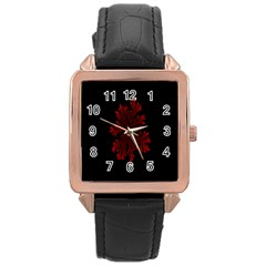 Dendron Diffusion Aggregation Flower Floral Leaf Red Black Rose Gold Leather Watch  by Mariart