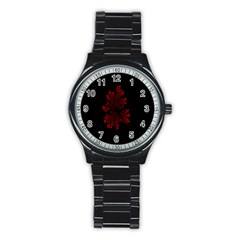 Dendron Diffusion Aggregation Flower Floral Leaf Red Black Stainless Steel Round Watch by Mariart