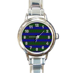 Diamond Alt Blue Green Woven Fabric Round Italian Charm Watch by Mariart