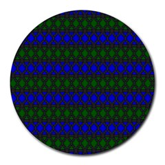 Diamond Alt Blue Green Woven Fabric Round Mousepads by Mariart