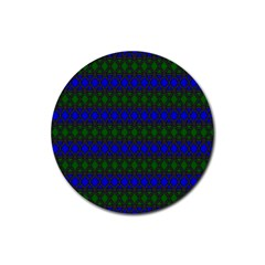 Diamond Alt Blue Green Woven Fabric Rubber Coaster (round)  by Mariart