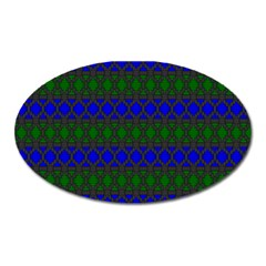 Diamond Alt Blue Green Woven Fabric Oval Magnet by Mariart
