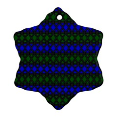 Diamond Alt Blue Green Woven Fabric Snowflake Ornament (two Sides) by Mariart