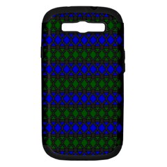 Diamond Alt Blue Green Woven Fabric Samsung Galaxy S Iii Hardshell Case (pc+silicone) by Mariart