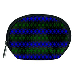 Diamond Alt Blue Green Woven Fabric Accessory Pouches (medium)  by Mariart