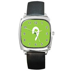 Dog Green White Animals Square Metal Watch by Mariart