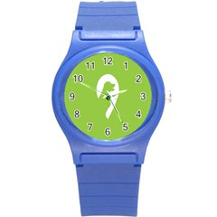 Dog Green White Animals Round Plastic Sport Watch (s) by Mariart