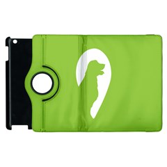 Dog Green White Animals Apple Ipad 3/4 Flip 360 Case by Mariart