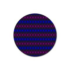 Diamond Alt Blue Purple Woven Fabric Rubber Round Coaster (4 Pack)  by Mariart