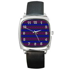 Diamond Alt Blue Purple Woven Fabric Square Metal Watch by Mariart