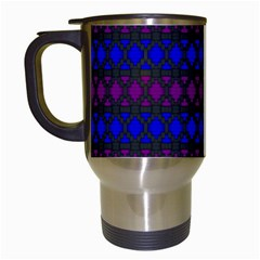 Diamond Alt Blue Purple Woven Fabric Travel Mugs (white) by Mariart