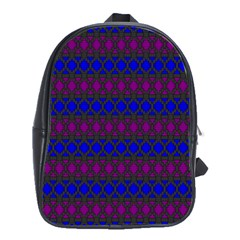 Diamond Alt Blue Purple Woven Fabric School Bags(large)