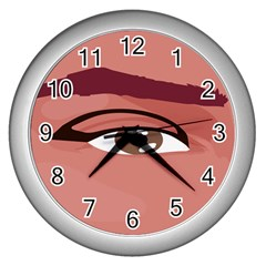 Eye Difficulty Red Wall Clocks (silver)  by Mariart