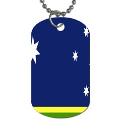 Flag Star Blue Green Yellow Dog Tag (one Side) by Mariart