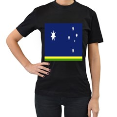 Flag Star Blue Green Yellow Women s T Shirt (black) (two Sided) by Mariart