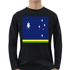 Flag Star Blue Green Yellow Long Sleeve Dark T Shirts by Mariart
