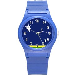 Flag Star Blue Green Yellow Round Plastic Sport Watch (s) by Mariart