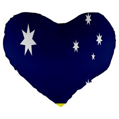 Flag Star Blue Green Yellow Large 19  Premium Flano Heart Shape Cushions by Mariart