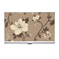 Floral Flower Rose Leaf Grey Business Card Holders by Mariart