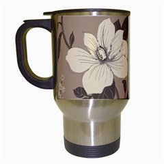 Floral Flower Rose Leaf Grey Travel Mugs (white) by Mariart