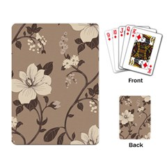 Floral Flower Rose Leaf Grey Playing Card by Mariart