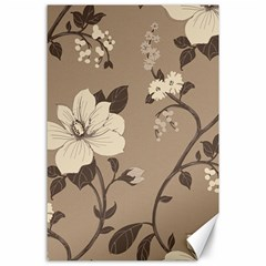 Floral Flower Rose Leaf Grey Canvas 24  X 36  by Mariart