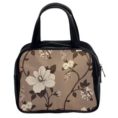 Floral Flower Rose Leaf Grey Classic Handbags (2 Sides) by Mariart