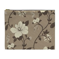 Floral Flower Rose Leaf Grey Cosmetic Bag (xl) by Mariart