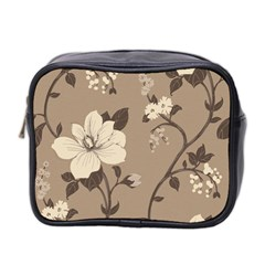 Floral Flower Rose Leaf Grey Mini Toiletries Bag 2 Side by Mariart