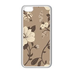 Floral Flower Rose Leaf Grey Apple Iphone 5c Seamless Case (white) by Mariart