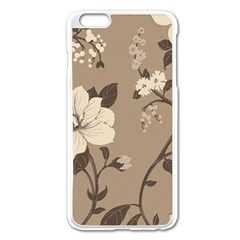 Floral Flower Rose Leaf Grey Apple Iphone 6 Plus/6s Plus Enamel White Case by Mariart