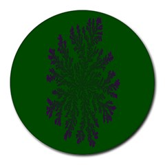 Dendron Diffusion Aggregation Flower Floral Leaf Green Purple Round Mousepads by Mariart