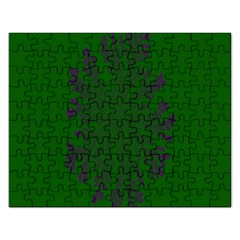 Dendron Diffusion Aggregation Flower Floral Leaf Green Purple Rectangular Jigsaw Puzzl by Mariart