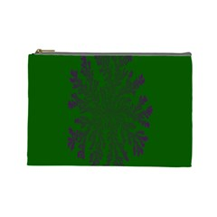 Dendron Diffusion Aggregation Flower Floral Leaf Green Purple Cosmetic Bag (large)  by Mariart