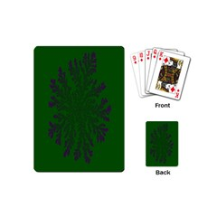 Dendron Diffusion Aggregation Flower Floral Leaf Green Purple Playing Cards (mini)  by Mariart