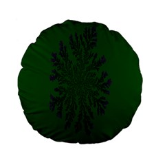 Dendron Diffusion Aggregation Flower Floral Leaf Green Purple Standard 15  Premium Flano Round Cushions by Mariart