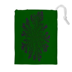 Dendron Diffusion Aggregation Flower Floral Leaf Green Purple Drawstring Pouches (extra Large) by Mariart
