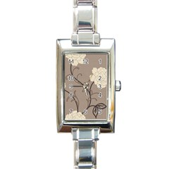 Flower Floral Black Grey Rose Rectangle Italian Charm Watch by Mariart