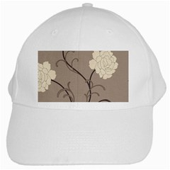 Flower Floral Black Grey Rose White Cap by Mariart