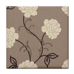 Flower Floral Black Grey Rose Tile Coasters by Mariart