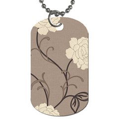 Flower Floral Black Grey Rose Dog Tag (one Side) by Mariart