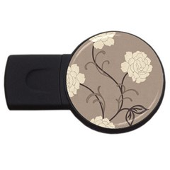 Flower Floral Black Grey Rose Usb Flash Drive Round (2 Gb) by Mariart