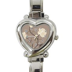 Flower Floral Black Grey Rose Heart Italian Charm Watch by Mariart