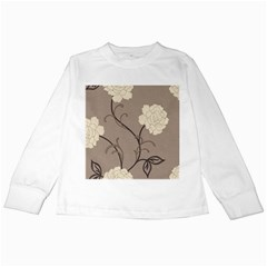 Flower Floral Black Grey Rose Kids Long Sleeve T Shirts by Mariart