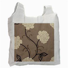 Flower Floral Black Grey Rose Recycle Bag (one Side) by Mariart