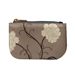 Flower Floral Black Grey Rose Mini Coin Purses by Mariart