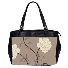 Flower Floral Black Grey Rose Office Handbags (2 Sides)  by Mariart