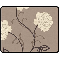 Flower Floral Black Grey Rose Fleece Blanket (medium)  by Mariart