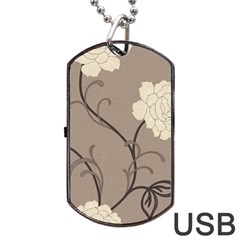 Flower Floral Black Grey Rose Dog Tag Usb Flash (one Side) by Mariart