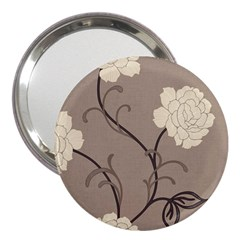 Flower Floral Black Grey Rose 3  Handbag Mirrors by Mariart
